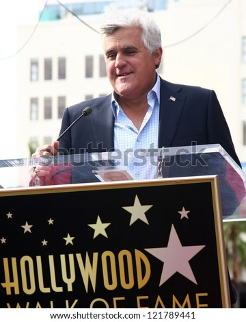 LOS ANGELES - DEC 13:  Jay Leno at the Hollywood Walk of Fame ceremony for Hugh Jackman at Hollywood Boulevard on December 13, 2012 in Los Angeles, CA - stock photo
