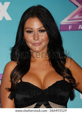 LOS ANGELES - DEC 19 - Jenni Farley, aka JWoww arrives at the X Factor 2012 Season Finale Day 1  on December 19, 2012 in Los Angeles, CA              - stock photo