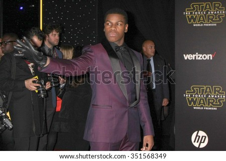 LOS ANGELES - DEC 14:  John Boyega at the Star Wars: The Force Awakens World Premiere at the Hollywood & Highland on December 14, 2015 in Los Angeles, CA - stock photo