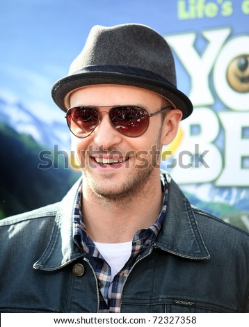 LOS ANGELES - DEC 11:  Justin Timberlake arrives to the 'Yogi Bear' Los Angeles Premiere  on December 11, 2010 in Westwood, CA - stock photo