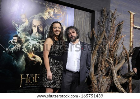 LOS ANGELES - DEC 2: Katie Jackson, Peter Jackson at the premiere of Warner Bros' 'The Hobbit: The Desolation of Smaug' at the Dolby Theater on December 2, 2013 in Los Angeles, CA - stock photo