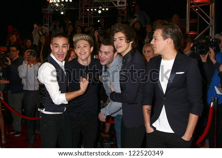 LOS ANGELES - DEC 20:  (L-R)Liam Payne, Niall Horan, Harry Styles and Louis Tomlinson of One Direction at the 'X Factor' Season Finale at CBS Television City on December 20, 2012 in Los Angeles, CA - stock photo