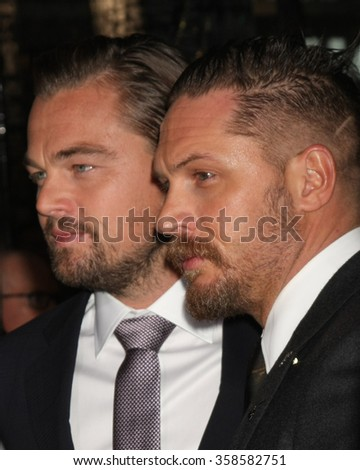 """LOS ANGELES - DEC 16:  Leonardo DiCaprio, Tom Hardy at the """"The Revenant"""" at the TCL Chinese Theater on December 16, 2015 in Los Angeles, CA - stock photo"""