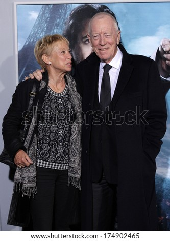 "LOS ANGELES - DEC 06:  MAX von SYDOW arrives to the ""Sherlock Holmes A Game of Shadows"" Los Angeles Premiere  on December 06, 2011 in Westwood, CA                 - stock photo"