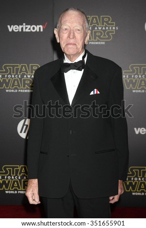 LOS ANGELES - DEC 14:  Max von Sydow at the Star Wars: The Force Awakens World Premiere at the Hollywood & Highland on December 14, 2015 in Los Angeles, CA - stock photo