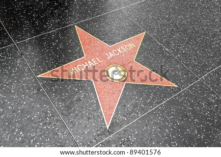 LOS ANGELES DEC 29: Michael Jackson's star on the Hollywood Walk of Fame at Hollywood Blvd on December 29, 2009 in Hollywood, Los Angeles, CA. It is one of 2400 celebrity stars. - stock photo