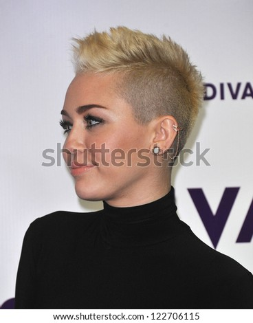 LOS ANGELES - DEC 16:  Miley Cyrus arrives to VH1 Diva's 2012  on December 16, 2012 in Los Angeles, CA - stock photo