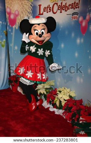 "LOS ANGELES - DEC 11:  Minnie Mouse at the ""Disney on Ice"" Red Carpet Reception at the Staples Center on December 11, 2014 in Los Angeles, CA - stock photo"