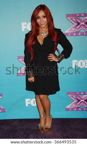 "LOS ANGELES - DEC 19 - Nicole ""Snooki"" Polizzi arrives at the X Factor 2012 Season Finale Day 1  on December 19, 2012 in Los Angeles, CA              - stock photo"