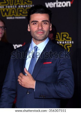 "LOS ANGELES - DEC 14:  Oscar Isaac arrives to the ""Star Wars: The Force Awakens"" World Premiere  on December 14, 2015 in Hollywood, CA.                 - stock photo"