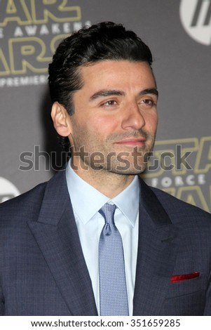 LOS ANGELES - DEC 14:  Oscar Isaac at the Star Wars: The Force Awakens World Premiere at the Hollywood & Highland on December 14, 2015 in Los Angeles, CA - stock photo