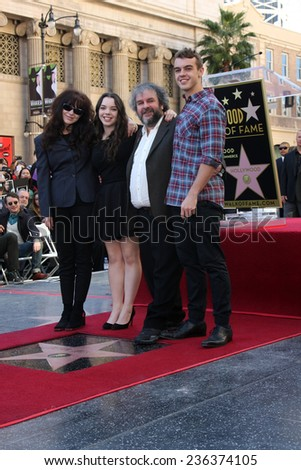 LOS ANGELES - DEC 8:  Peter Jackson, family at the Peter Jackson Hollywood Walk of Fame Ceremony at the Dolby Theater on December 8, 2014 in Los Angeles, CA - stock photo