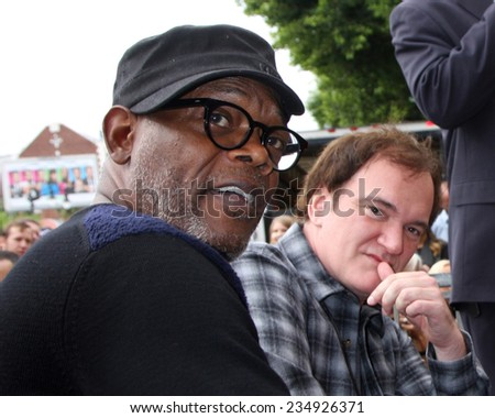 LOS ANGELES - DEC 1:  Quentin Tarantino, Samuel L. Jackson at the Christoph Waltz Hollywood Walk of Fame Star Ceremony at the Hollywood Boulevard on December 1, 2014 in Los Angeles, CA - stock photo