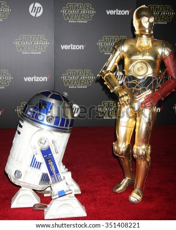 LOS ANGELES - DEC 14:  R2-D2, C-3PO at the Star Wars: The Force Awakens World Premiere at the Hollywood & Highland on December 14, 2015 in Los Angeles, CA - stock photo