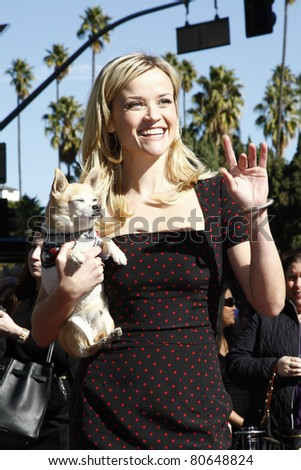 LOS ANGELES - DEC 1: Reese Witherspoon at a ceremony where actress Reese Witherspoon receives a star on the Hollywood Walk of Fame in Los Angeles, California on December 1, 2010