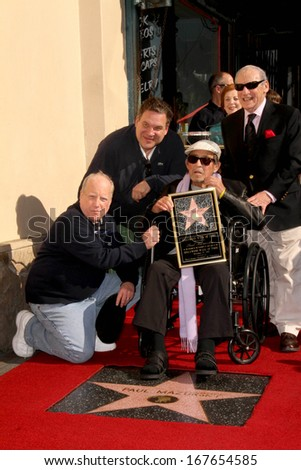 LOS ANGELES - DEC 13:  Richard Dreyfuss, Jeff Garlin, Mel Brooks, Paul Mazursky at the Paul Mazursky Star on the Walk of Fame Ceremony at Hollywood Blvd on December 13, 2013 in Los Angeles, CA - stock photo