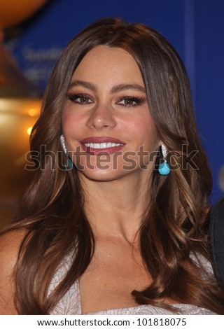 LOS ANGELES - DEC 14:  Sofia Vergara annoucing the Golden Globe Awards 2012 Nominations  on December 14, 2011 in Beverly Hills, CA. - stock photo
