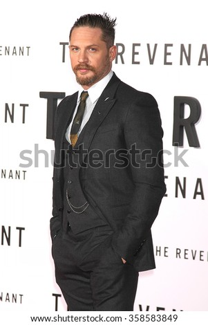 "LOS ANGELES - DEC 16:  Tom Hardy at the ""The Revenant"" at the TCL Chinese Theater on December 16, 2015 in Los Angeles, CA - stock photo"