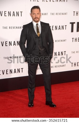LOS ANGELES - DEC 16:  Tom Hardy at the The Revenant Los Angeles Premiere at the TCL Chinese Theater on December 16, 2015 in Los Angeles, CA - stock photo