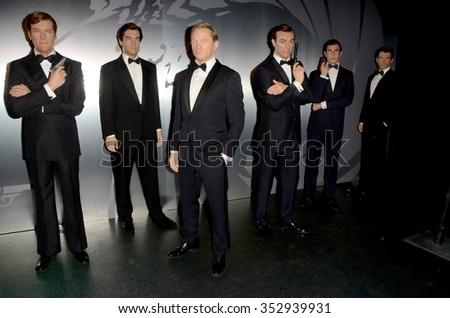 LOS ANGELES - DEC 15:  Wax figures of Six Bond actors at the Madame Tussauds Hollywood Reveals All Six James Bonds In Wax at the TCL Chinese Theater on December 15, 2015 in Los Angeles, CA - stock photo