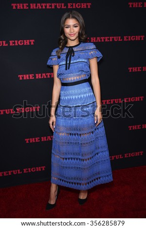 "LOS ANGELES - DEC 07:  Zendaya Coleman arrives to the ""The Hateful Eight"" Los Angeles Premiere  on December 07, 2015 in Hollywood, CA.                 - stock photo"