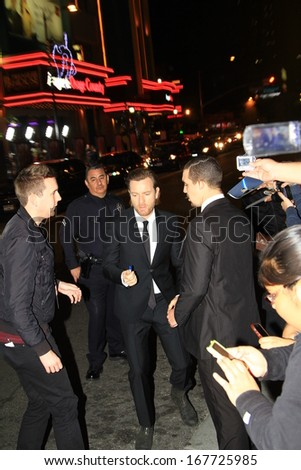 "LOS ANGELES-DECEMBER 16, 2013: Actor Ewan McGregor attends the premiere of ""August: Osage County December 16, 2013 at the Regal Cinemas in downtown Los Angeles, CA. - stock photo"