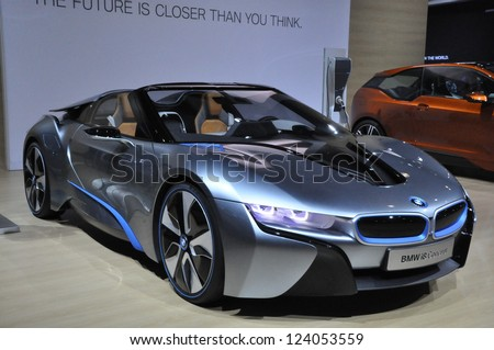 LOS ANGELES - DECEMBER 8: The BMW i8 Concept Car at the 2012 Los Angeles Auto Show as seen on December 8, 2012 in Los Angeles, California. - stock photo