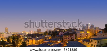 Los Angeles Downtown And China Town At Dusk Evening Panoramic - stock photo