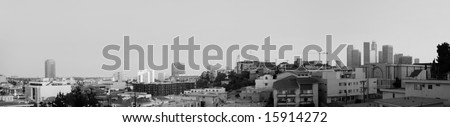 Los Angeles Downtown And China Town At Dusk Panoramic - stock photo