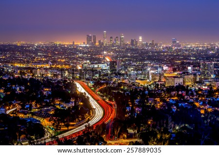 Los Angeles downtown and hollywood night skyline  - stock photo