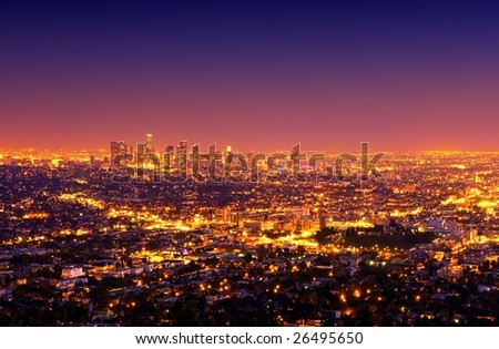 Los Angeles Downtown and Surrounding Area at Sunset - stock photo