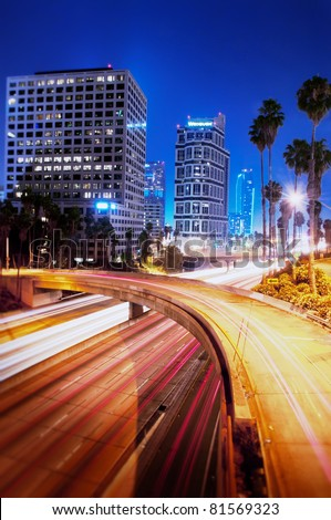Los Angeles downtown at night - stock photo