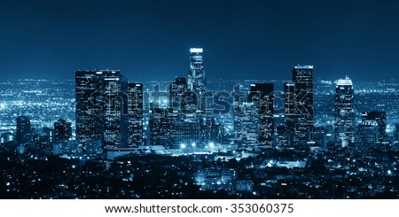 Los Angeles downtown buildings at night - stock photo