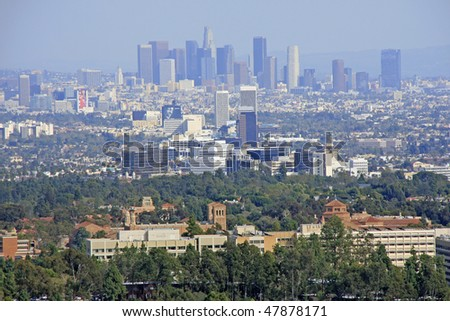 Los Angeles Downtown, Century City, Korea Town and UCLA Westwood view. - stock photo