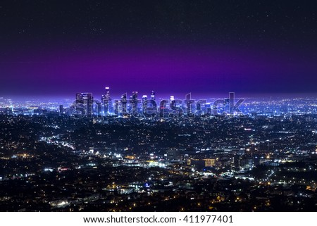 Los Angeles downtown city skyline at night - stock photo