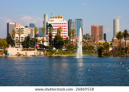 Los Angeles downtown next to a lake - stock photo
