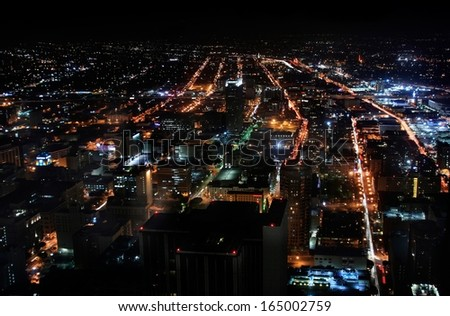 Los Angeles Downtown Night 02 Aerial View from top of skyscraper facing south - stock photo