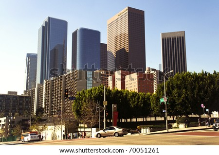 Los Angeles downtown on a sunny day - stock photo
