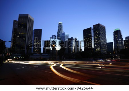 Los Angeles downtown skyline at night - stock photo