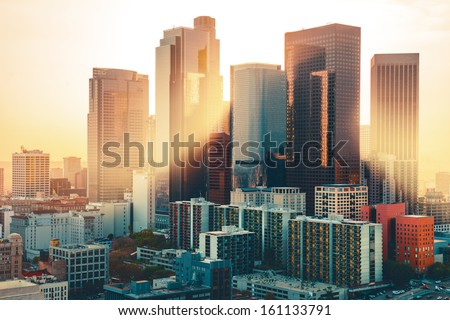 Los Angeles downtown skyline at sunset - stock photo
