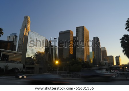 Los Angeles downtown skyline near sunset - stock photo
