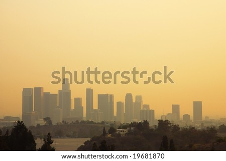 Los Angeles Downtown Sunset During The October 2007 Wildfire