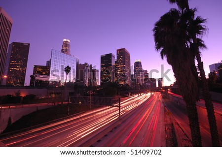Los Angeles downtown traffic and skyline - stock photo