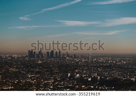 Los Angeles Downtown view from observatory