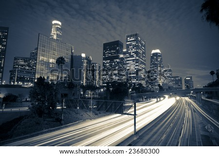 Los Angeles- dramatic black and white - stock photo