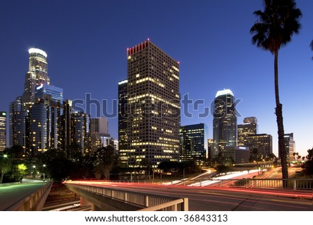 Los Angeles during rush hour at sunset - stock photo