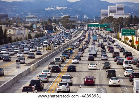 LOS ANGELES - FEB 17: A project to widen the San Diego Freeway, I-405, is underway with closures along adjoining streets on February 17, 2010. - stock photo