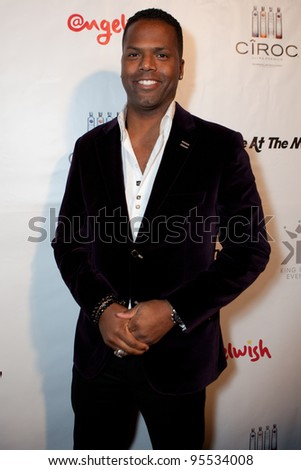 "LOS ANGELES - FEB. 12: AJ Calloway  attends the ""Fame At The Mansion"" 2012 Grammy Aterparty hosted by Sean ""Diddy"" Combs held at the Playboy Mansion. Los Angeles, Feb 12, 2012 - stock photo"
