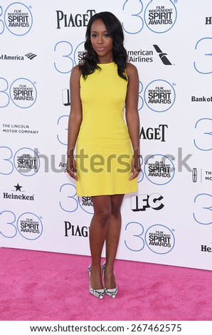 LOS ANGELES - FEB 21:  Aja Naomi King arrives to the 2015 Film Independent Spirit Awards  on February 21, 2015 in Santa Monica, CA                 - stock photo