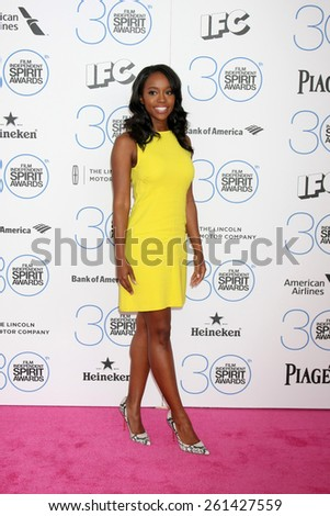 LOS ANGELES - FEB 21:  Aja Naomi King at the 30th Film Independent Spirit Awards at a tent on the beach on February 21, 2015 in Santa Monica, CA - stock photo